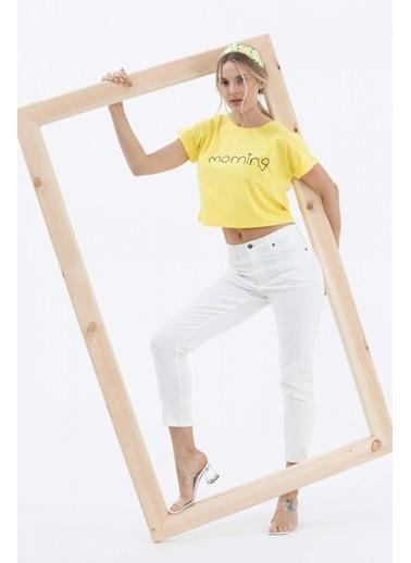 Sementa Baskılı Basic Kısa Tshirt - Sarı Sarı
